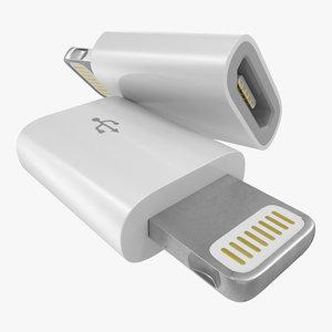 3d model lightning usb adapter