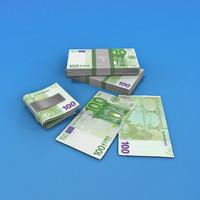 100 euro bills 3d max