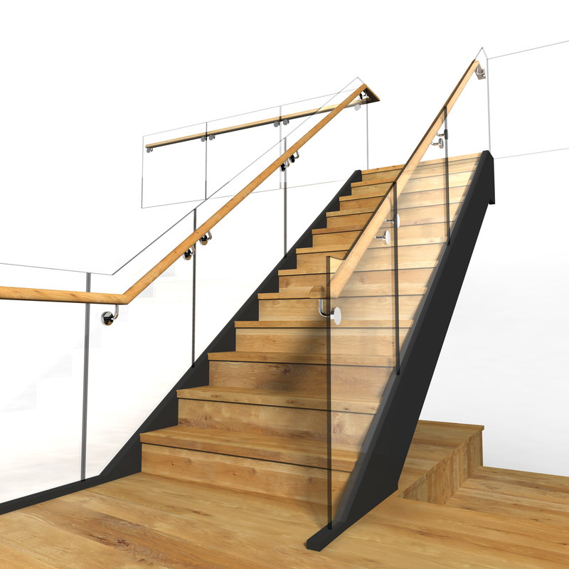 3d model chrome glass wood staircase