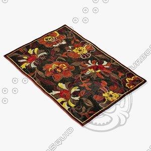 3d loloi rugs hl-11 dark brown model