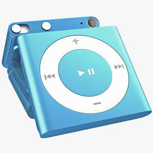 ipod shuffle blue modeled 3d max