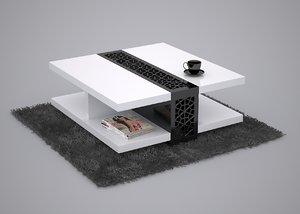 coffee table black white 3d max