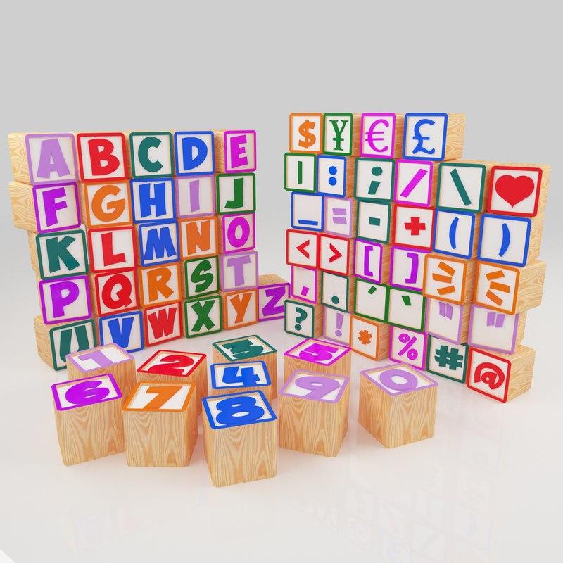 3ds wooden blocks alphabet