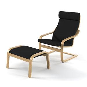 3d model ikea poeng chair