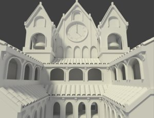 3ds outdoor courtyard cathedral