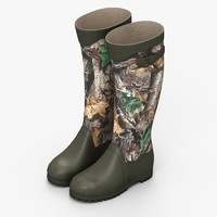 camouflaged rubber boots 3d model