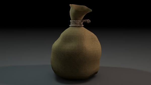 3d model of pouch gold