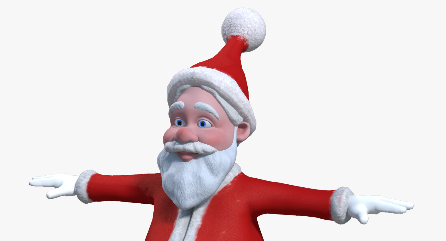 cartoon santa claus rigged 3d obj