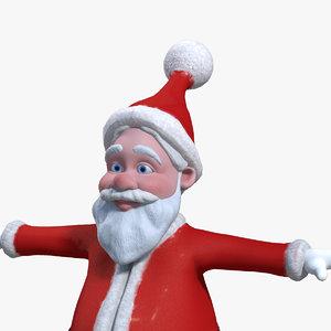 cartoon santa claus rigged 3d obj
