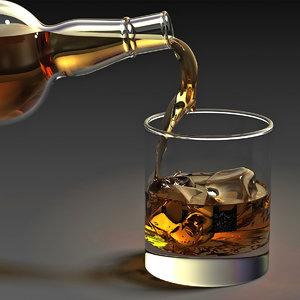 3ds max whiskey bottle filling glass