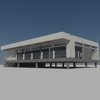 Futuristic Modern City Building House 5 - Low Poly Prefab