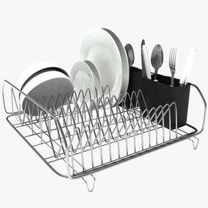 3d dish drainer scene model