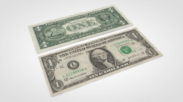 3d model dollar bill