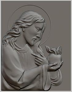 relief sculpture jesus christ 3d model