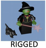 lego witch character rigged c4d