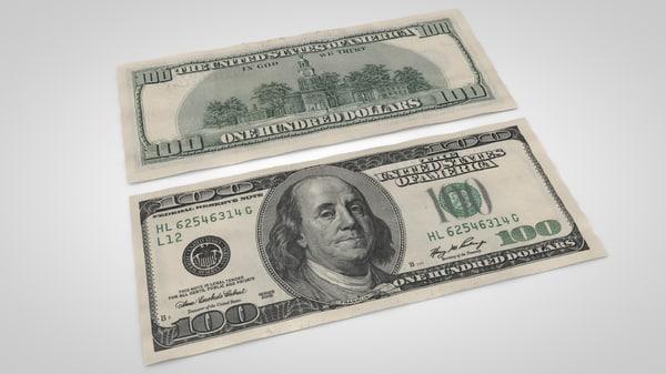 3d 100 dollars bill
