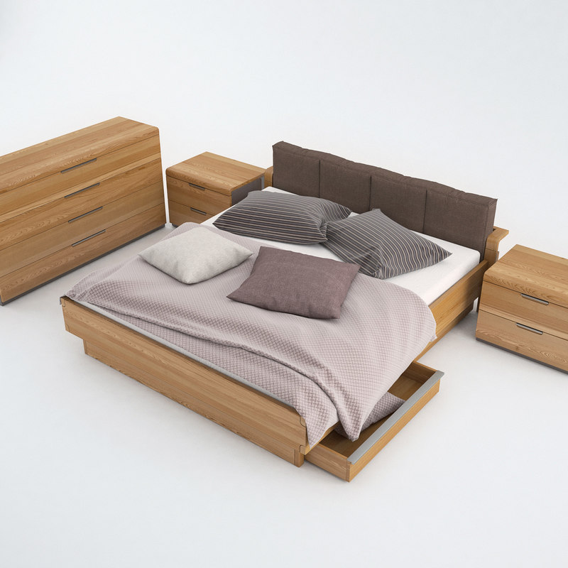 set bedroom bed sheet 3d obj
