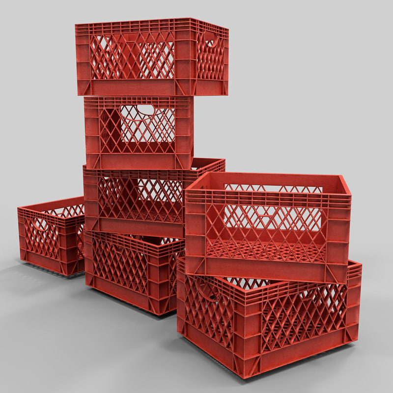 3d stacked milk crates model