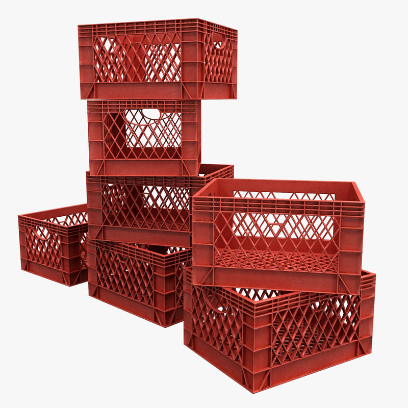 3d stacked milk crates model
