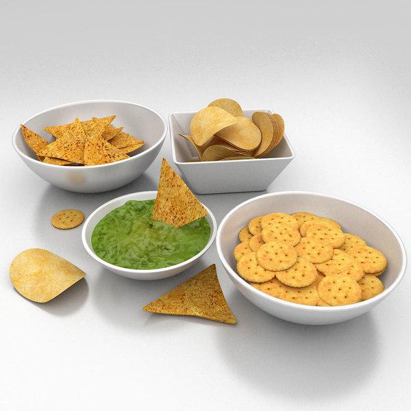 salted snacks food 3d model