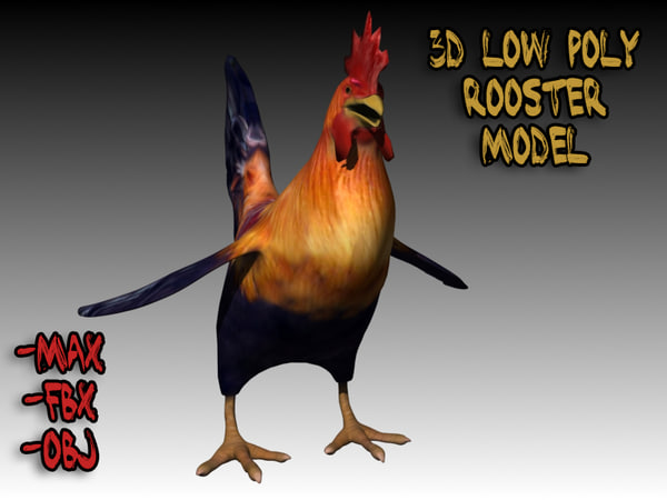 cartoon style rooster 3d model