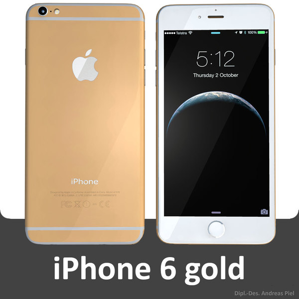 3ds modelled iphone 6 gold