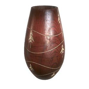 3d vintage wooden vase model