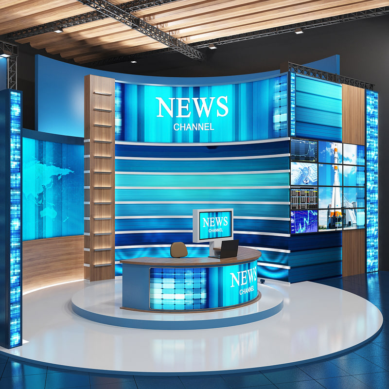 tv studio news 3d model