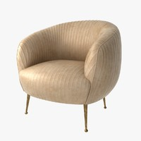 3d model of chair leather souffle