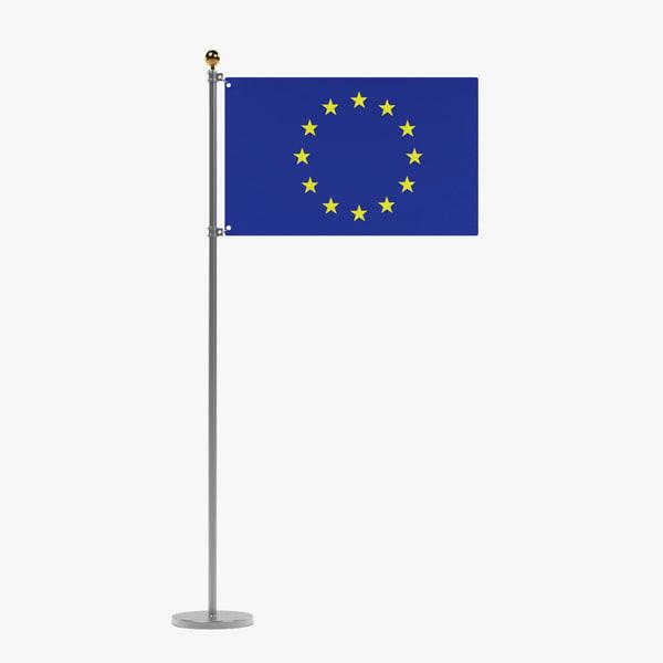3d model of eu flag