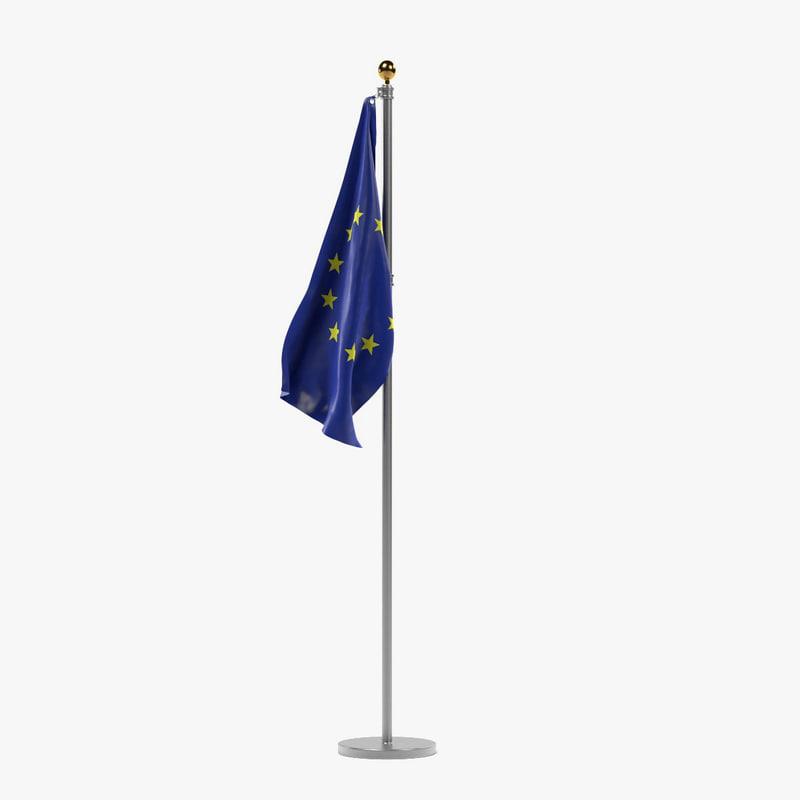 eu flag 3d obj