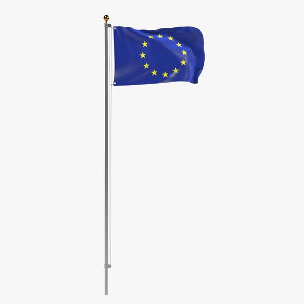 3d model eu flag