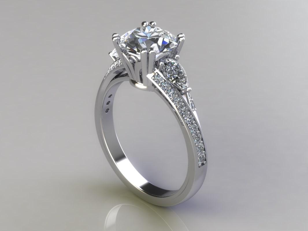 3d engagement ring diamonds navette model