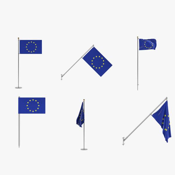 eu flags 3d model