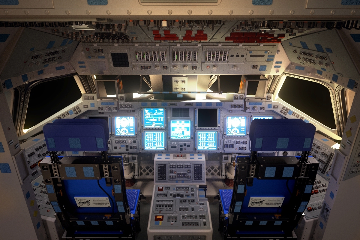 space shuttle cockpit 3d obj