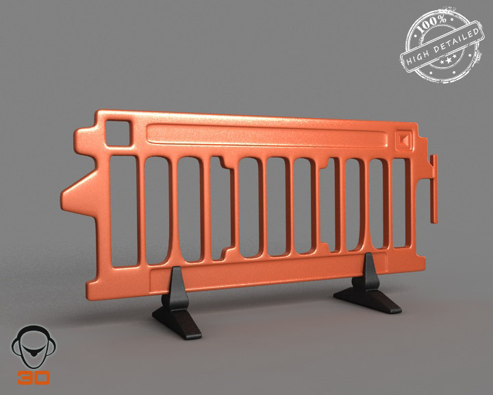 plastic road barrier 3ds