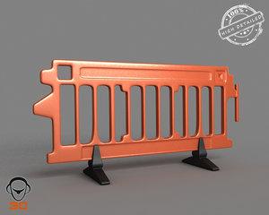 plastic road barrier 3ds