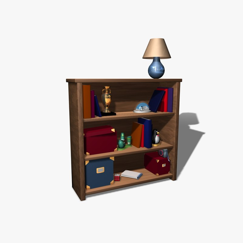 3d model cartoon bookshelf books
