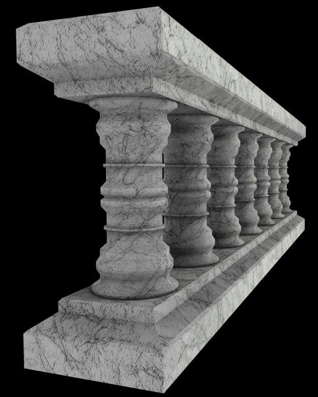 3d marble balustrade