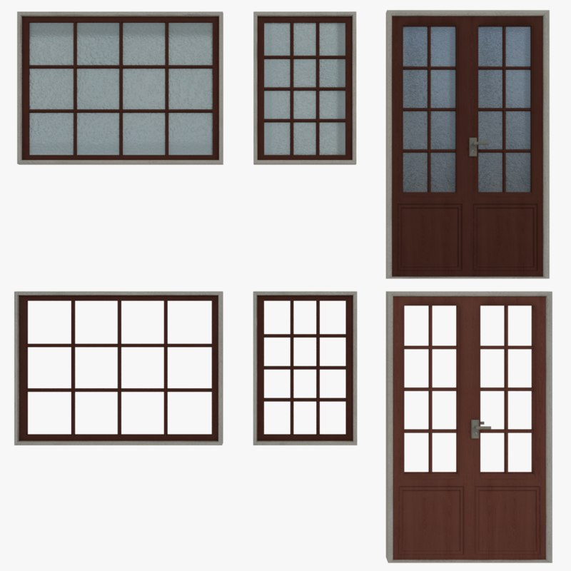 windows doors type 1 3ds