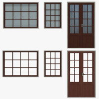 Windows Doors Type 1 Low Poly