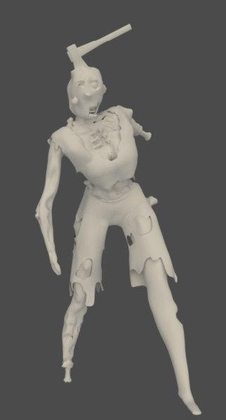 zombie bone protruding 3d model