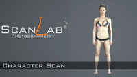 3d fbx female body scan -