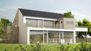 3d obj modern house