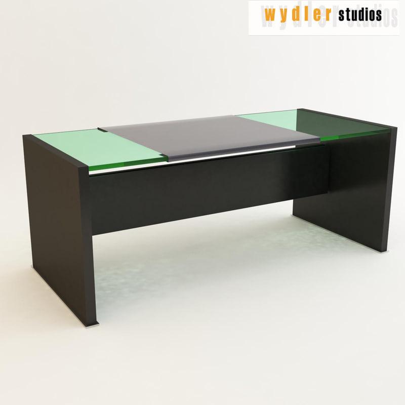 3d glass desk