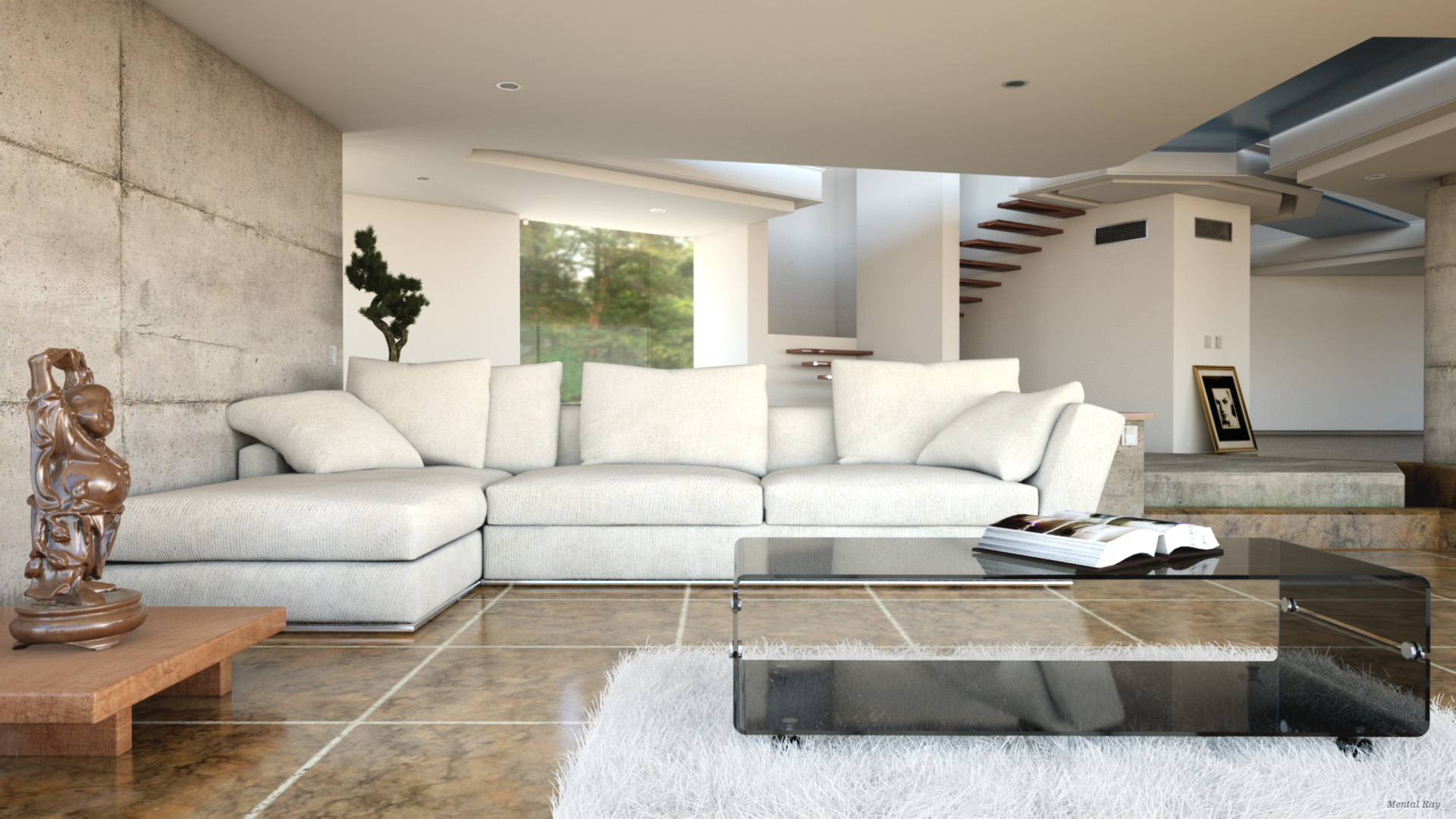 Modern Realistic Interior Living Room Livingroom Vray Mental Ray Octane With Furniture Collection And Carpet