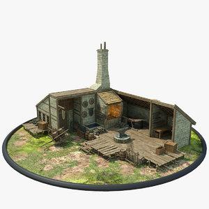 medieval blacksmith house obj