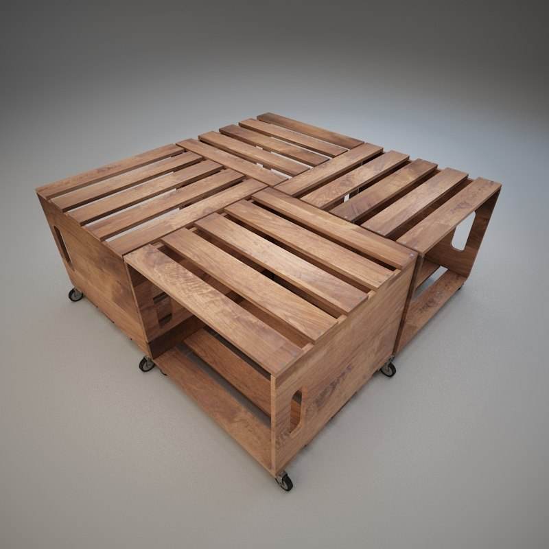 coffee table wood crates 3d 3ds