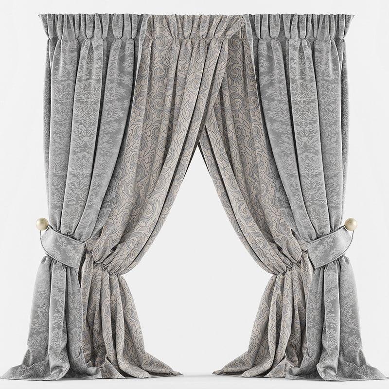 3d curtain classic pearl model