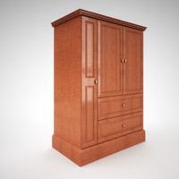 shaker armoire wood finish 3d model